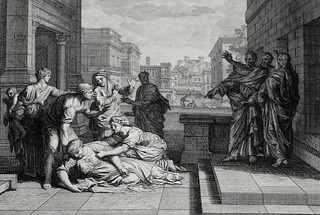 Luke in the Phillip Medhurst Collection 601 The death of Ananias Acts 5:1-10 Mortier's Bible