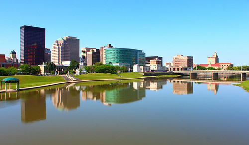 ohio urban water skyline river downtown cityscape dayton montgomerycounty