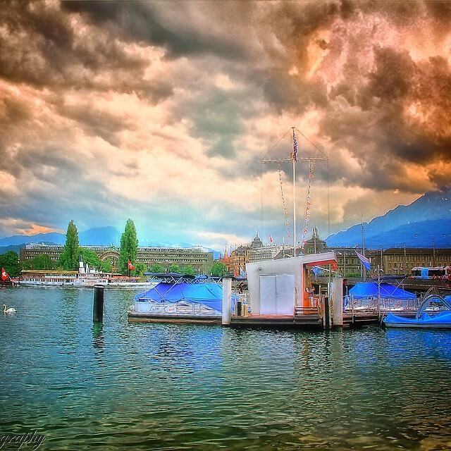 Switzerland, #landscape #waterscape  #sea #reflection #travel #clouds #sky #hdr #ships #pier #cloudy #switzerland #water #trees #nature