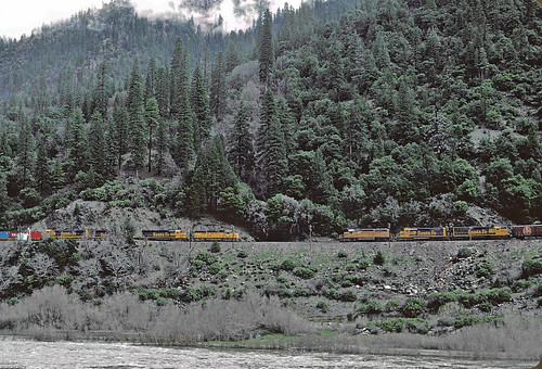 5 of UP 3234 and 3427 Meet in Feather River Canyon, March 1983 | by railfan 44