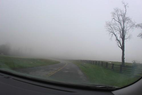 road wet weather fog fence driving view blueridgeparkway