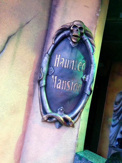 Sign, fake Haunted Mansion, Winter Wonderland, Hyde Park, Westminster, London, UK
