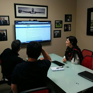 Yvette reviewing a new site with a long time client. | by caspianservices