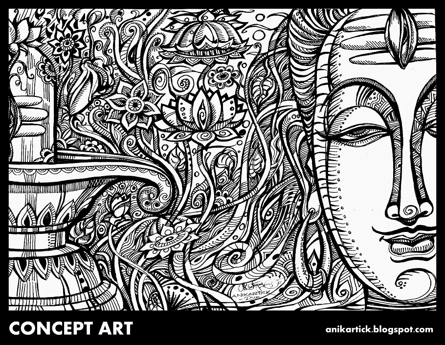 Lord Shiva Drawing Sketch Doodles Illustration Concept