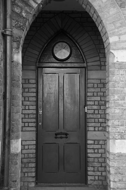 Cemetery Lodge door and clock