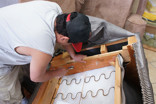 corolla reupholstering a love sofa at ml upholstery | by Upholstery Los Angeles