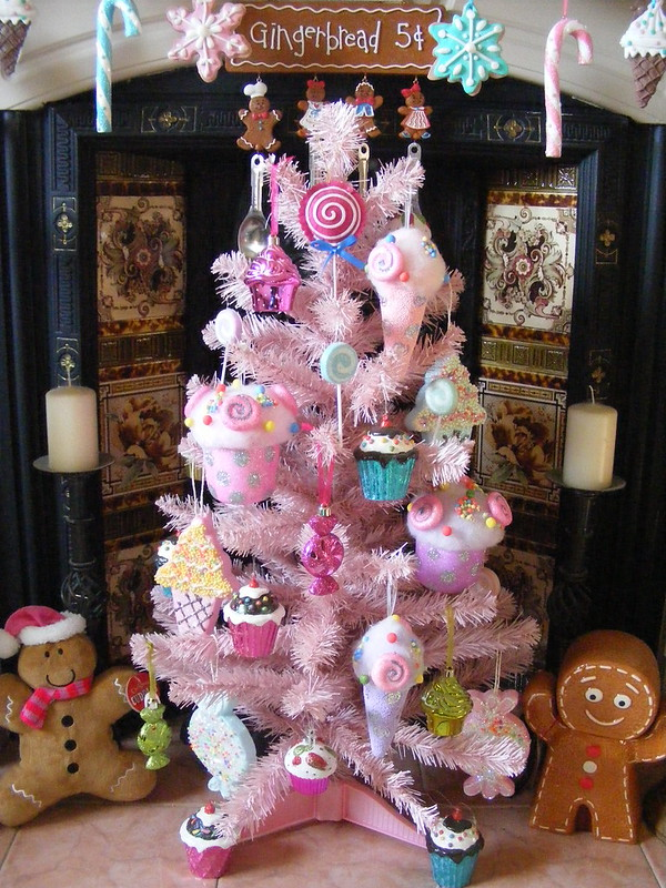 Candy Pink Christmas Tree with Cupcakes, Lollipops, Candies, Ice Creams and Gingerbreads!