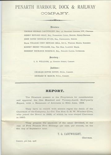 Penarth Harbour, Dock and Railway Directors Report 1918   by ian.dinmore