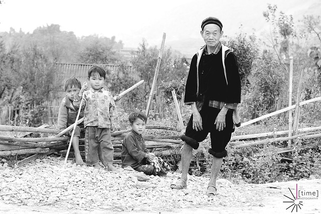 Grand father and kids in Northern Vietnam