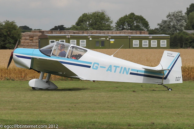 G-ATIN - 1956 SAN built Jodel D117 Grand Tourisme, arriving at Breighton for the 2012 Summer Madness Fly-in