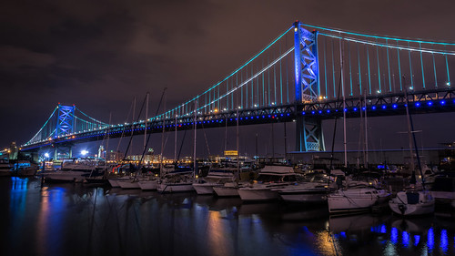 city longexposure bridge blue urban philadelphia water architecture night clouds reflections river boats lights us nikon unitedstates pennsylvania police honor nighttime philly benfranklinbridge brotherlylove d7200