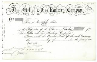 Mellis & Eye Railway Share Certificate 1860   by ian.dinmore