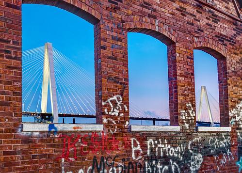 bridge graffiti nikon stlouis brickwall mississippiriver d750 framing cablestayedbridge nikon1635mmf4 nikonafsnikkor1635mmf40gedvr stanspan stanmusialbridge stanmusialveteransmemorialbridge nikond750 mullanphypumphouse insiteimage