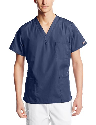 Cherokee Workwear Scrubs Unisex V-Neck Top, Navy, Large