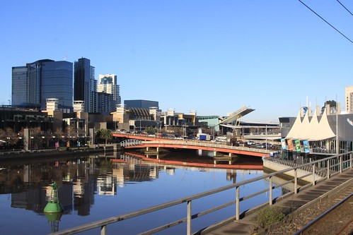 Looking across to Crown Casino and the King Street Bridge