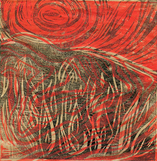 Learning linocut. Rock deformation over flames with sun 2. | by Laura Frankstone