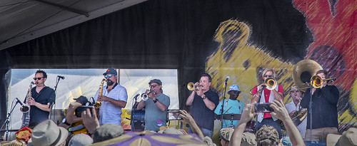 New Orleans Nightcrawlers on Day 1 of Jazz Fest - 4.27.18. Photo by Marc PoKempner.