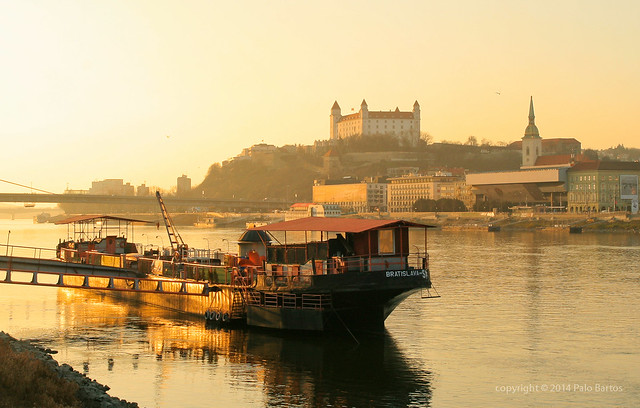 Sunset over Danube under Bratislava Castle