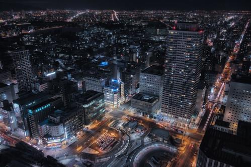 winter sapporo 北海道 日本 nightview hdr 札幌市