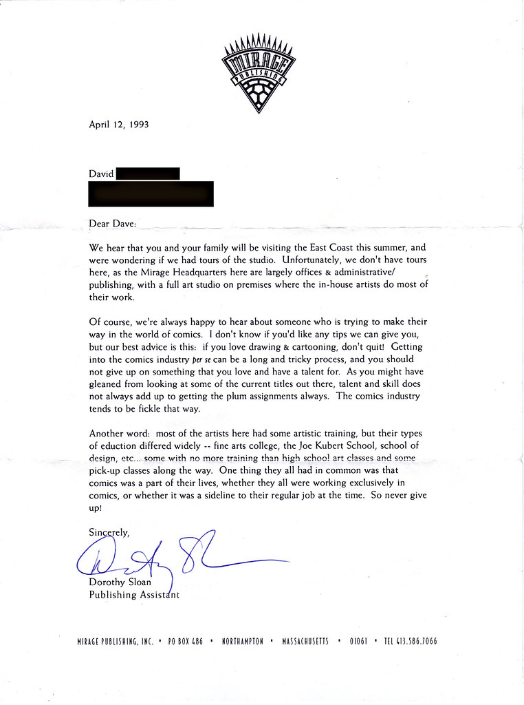 MIRAGE PUBLISHING ::  Note to Tokka from Dorothy Sloan, Former Publishing Assistant at Mirage (( April 12, 1993 )) by tOkKa
