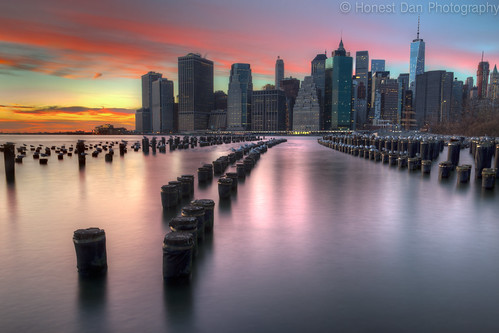 park nyc bridge sunset brooklyn cityscape hdr 2015