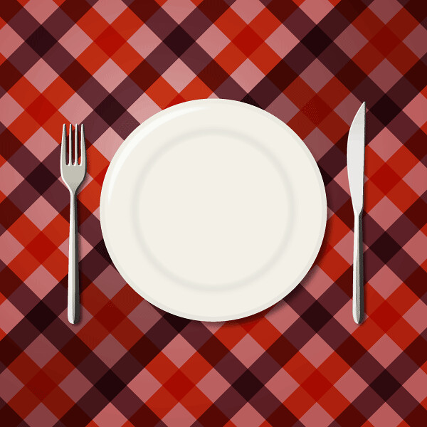 Menu Design Checkered Tablecloth Background With Fork And ...