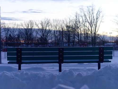 winter snow sunrise bench bluehour chainlinkfence treeline crepuscule hbm hff earlymorninglight athleticfield