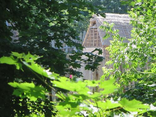 Pilgrim rustic farm houses at the Plimoth Plantation livin ...