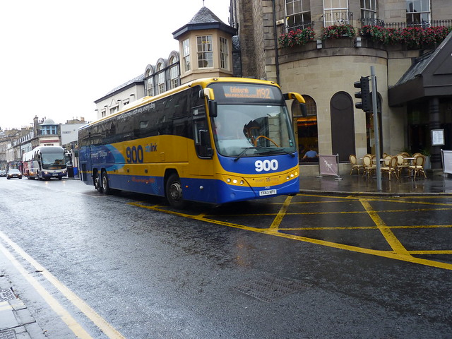 Stagecoach, Citylink service 900 liveried, Volvo B13R Plaxton Panther YX63NFY 54130 inbound to the bus staion on service M92 from Aberdeen at Queensferry Street, Edinburgh on 28 September 2016.