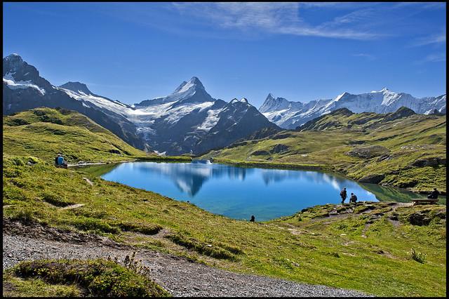 Alpine panorama taken from The Bachalp lake , Grindelwald, Berner Oberland. No. 9075.