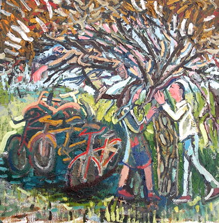 """""""lovers under a tree in bicycle grave yard"""" 