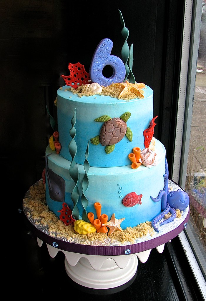 Tremendous Under The Sea Birthday Cake The Customer Requested Lots Of Flickr Funny Birthday Cards Online Overcheapnameinfo