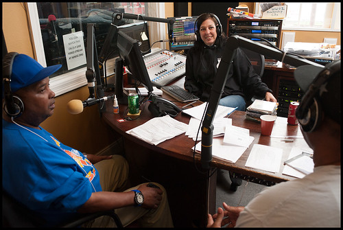 Action Jackson, Nita Ketner, and guest at WWOZ during the 2015 Spring Pledge Drive. Photo by Ryan Hodgson-Rigsbee www.rhrphoto.com