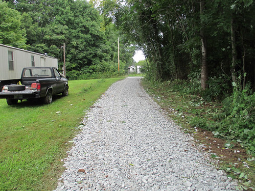 Road improvement with new rock