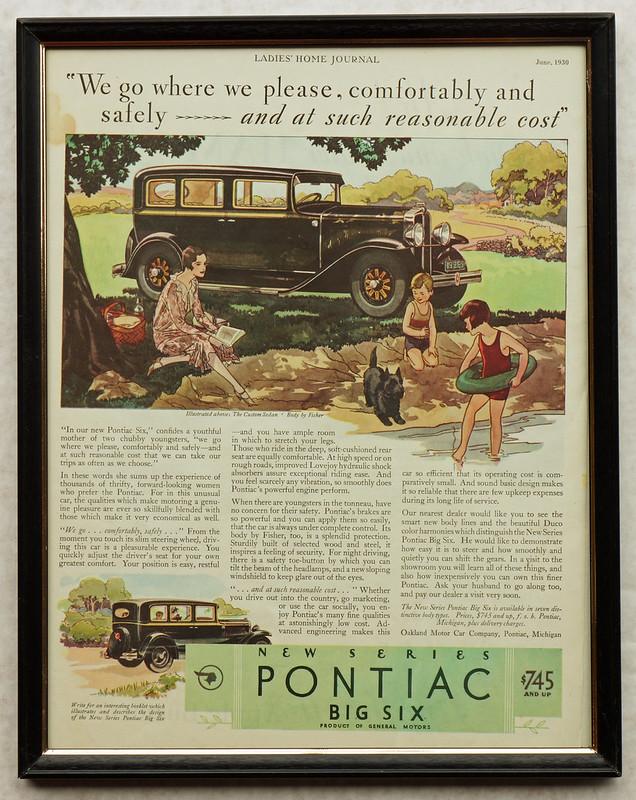 CM053 1930 Pontiac Big Six Ad Framed DSC04155