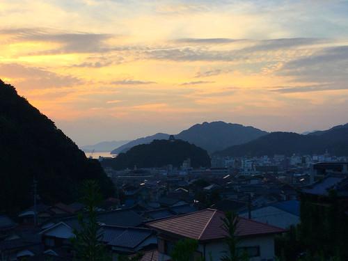 japan 日本 shikoku 四国 uwajima 宇和島 愛媛県 ehimeken castle sunset