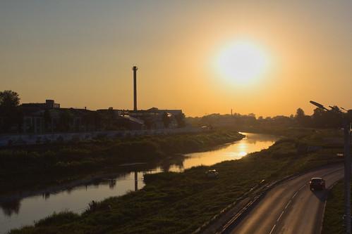 tula ula town russia view evening sunset summer sunfall river sun