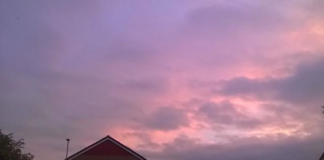 Purple Sunset Over Whinmoor , Leeds , West Yorkshire , England , UK
