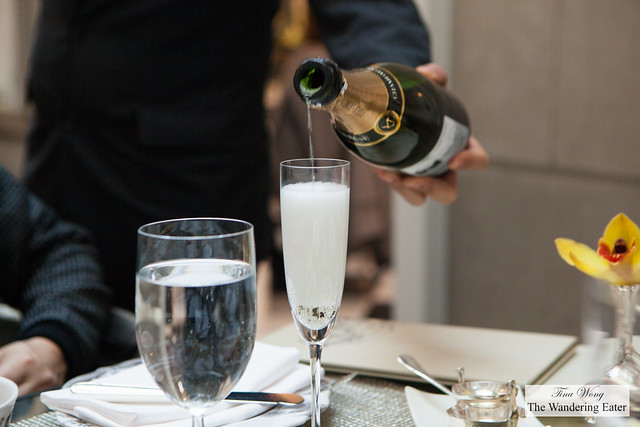Our server pouring the Champagne Voirin-Jumel 1st Cru Blanc de Blancs