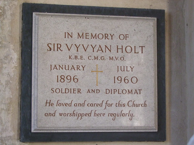 Rougham, Norfolk, St Mary, memorial to Sir Vyvyan Holt died 1960