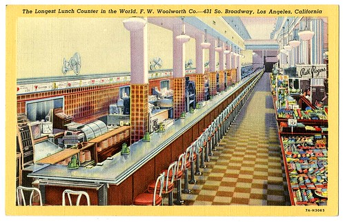 The longest lunch counter in the world. F.W. Woolworth Co., 431 So. Broadway, Los Angeles, California   by California Historical Society Digital Collection