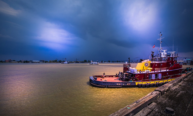 Tugboat in Mississippi River - New Orleans - Louisiana - USA