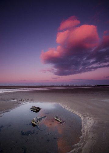 sunset cold reflection beach pool scotland sand rocks fife shore northsea seashore saintandrews