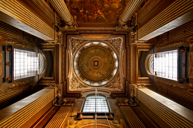 UK - London - Greenwich - Old Royal Naval College - Painted Hall looking up v2_DSC3913