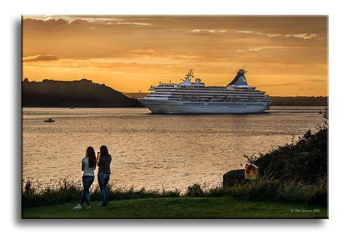 artania cruise cruiseship mv sunset sea seascape landscape frames framed cobh ireland