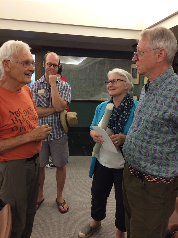 Kris Holmes in conversations with Darrell Hyder (left), Jesse Marsolaise and her husband Chuck Bigelow