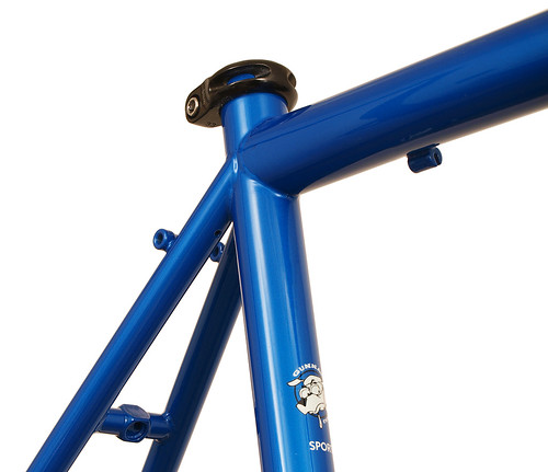 <p>Seat cluster detail on a Gunnar Sport in Blue Flame with White Builseye decals.  The most versatile road bike around, the Sport fits fenders and up to 28C tires (32C's and most 35C's will fit without fenders.  Great design for centuries, randonneuring and general riding.</p>
