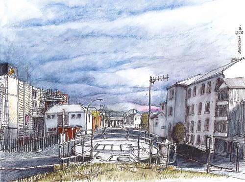 launceston eskriver tamarriver streetscape city tasmania pencilinkwash sketch