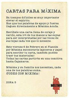 Solidaridad Mundial con MAXIMA ACUÑA