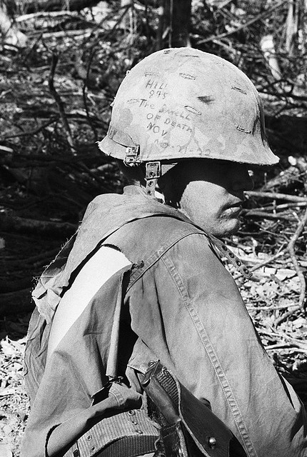 American Soldier With Inscribed Helmet - Hill 875